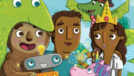 book cover for it's great being a dad, dad surrounded by mythical creatures