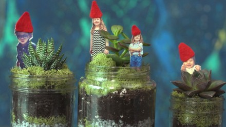 three terrariums with little gnomes on top