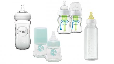 Best glass baby bottles: Philips Avent Natural Glass Baby Bottle, Mii Sophie la Girafe Glass Baby Bottle, Dr. Brown's Natural Flow Options Glass Wide-Neck Bottle, and Natursutten Glass Baby Bottle
