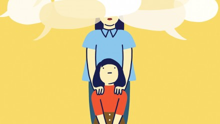 Illustration of a mother and daughter surrounded by speech bubbles. Daughter is looking at her mother