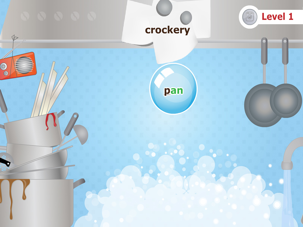 A still from the typing game Typing Chef