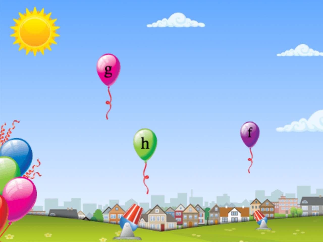 A still from the typing game Type-A-Balloon