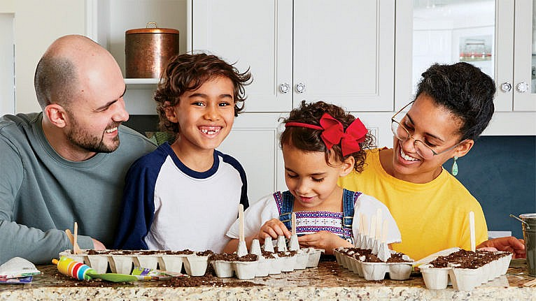 Photo of a family planting seeds in egg cartons in their kitchen