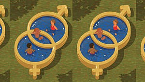 Illustration of kids sitting in a blowup pool made to look like a Venn diagram of overlapping symbols for male and female. One kid is sitting in the male side, one in the female and on in the middle.
