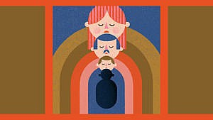 coloured illustration of a family represented by russian dolls